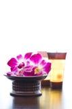 Ingredientes del balneario y flores de la orquídea Imagenes de archivo