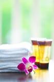 Ingredientes del balneario y flores de la orquídea Fotografía de archivo libre de regalías