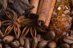 Ingredientes del café del aroma fotografía de archivo