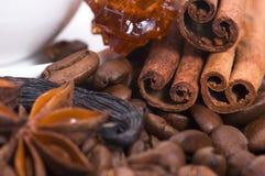 Ingredientes del café del aroma Imagen de archivo