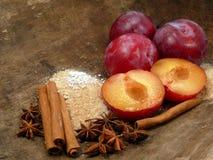 ingredientes del Ciruelo-puré Imágenes de archivo libres de regalías
