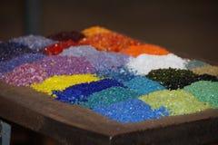 Ingredientes del colorante de Glassblowing - fondo de las fabricaciones del vidrio Fotos de archivo libres de regalías