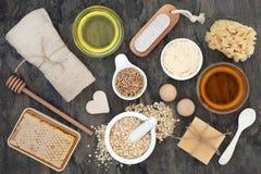 Ingredientes del cuidado de la piel y del cuerpo fotos de archivo libres de regalías