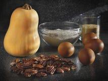 Ingredientes del pastel de calabaza Foto de archivo libre de regalías