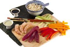 Ingredientes del sushi aislados en blanco Imágenes de archivo libres de regalías