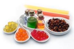 Ingredientes del té de la burbuja fotos de archivo libres de regalías