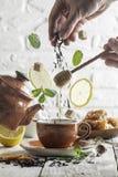 Ingredientes del té que caen abajo a la taza Foto de archivo libre de regalías