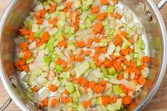 Ingredientes desbastados da sopa vegetal Fotos de Stock