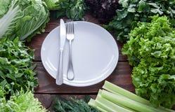 Ingredientes do alimento do vegetariano dos verdes e das folhas da alface foto de stock royalty free