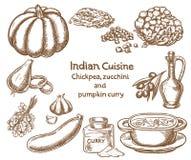 Ingredientes do caril do grão-de-bico, do abobrinha e da abóbora Fotos de Stock Royalty Free