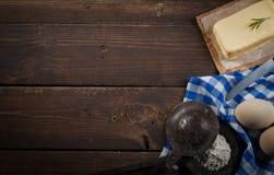 Ingredientes do cozimento, espaço livre - fundo do alimento Foto de Stock Royalty Free
