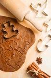 Ingredientes do cozimento para cookies do Natal imagem de stock