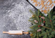 Ingredientes do cozimento para o pão-de-espécie das cookies do Natal Moldes para o cozimento, as especiarias e as decorações para Imagem de Stock Royalty Free