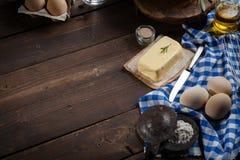 Ingredientes do cozimento, vista superior - fundo do alimento Fotografia de Stock Royalty Free
