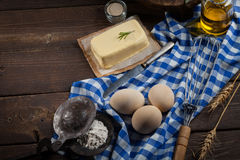 Ingredientes do cozimento, vista superior - fundo do alimento Fotos de Stock Royalty Free
