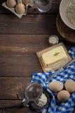 Ingredientes do cozimento, vista superior - fundo do alimento Imagens de Stock