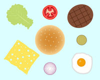 Ingredientes do Hamburger ou do hamburguer isolados no fundo Imagem de Stock Royalty Free