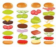Ingredientes do hamburguer ajustados no fundo branco ilustração do vetor
