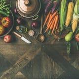 Ingredientes do outono para a preparação do jantar do dia da ação de graças, colheita quadrada Fotografia de Stock