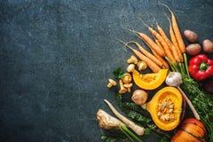 Ingredientes dos vegetais do outono para Thanksgining saboroso ou Christma Foto de Stock Royalty Free