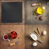 Ingredientes e especiarias de alimento na tabela de madeira imagem de stock royalty free