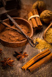 Ingredientes e especiarias do cozimento Fotografia de Stock