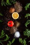 Ingredientes e tempero para o vegetariano saudável que cozinha no blac Fotografia de Stock Royalty Free