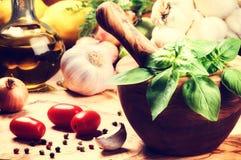 Ingredientes frescos para cocinar sano Imagenes de archivo