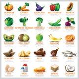 Ingredientes fruta y carne vegetales fijadas iconos para la nutrición Foo Foto de archivo libre de regalías