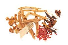 Ingredientes herbarios chinos Foto de archivo libre de regalías