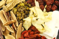 Ingredientes herbarios chinos de la sopa Imagen de archivo libre de regalías