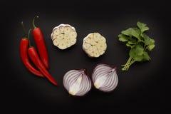 Ingredientes iniciais, para o alimento saboroso, picante com pimentões, alho, Imagem de Stock
