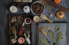 Ingredientes mágicos no fundo rústico fotografia de stock
