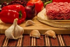 Ingredientes mexicanos de la cocina para el Burrito Fotografía de archivo