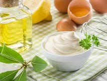 Ingredientes naturais da maionese Fotografia de Stock Royalty Free