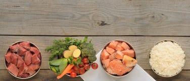 Ingredientes naturais para o alimento para cães em quatro bacias no CCB de madeira velho fotografia de stock royalty free