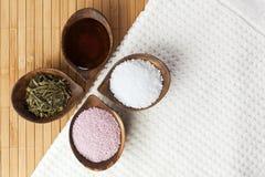 Ingredientes orgánicos del baño Imagen de archivo libre de regalías