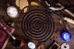 Ingredientes orientales del desayuno del estilo, pocilga del vintage del café de la mañana Fotografía de archivo