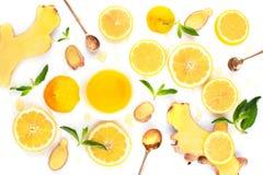 Ingredientes para a bebida do inverno da vitamina foto de stock