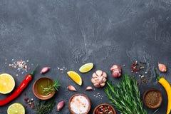 Ingredientes para cozinhar Ervas e especiarias na opinião de tampo da mesa de pedra preta Fundo do alimento imagem de stock royalty free