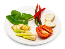 Ingredientes para cozinhar a sopa picante ou o tom yum imagem de stock royalty free