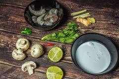 Ingredientes para cozinhar a sopa tailandesa Tom Yum imagem de stock