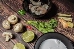 Ingredientes para cozinhar a sopa tailandesa Tom Yum fotografia de stock