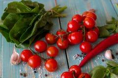 Ingredientes para a culinária italiana e mediterrânea Fundo de madeira imagens de stock royalty free