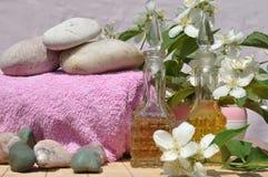 Ingredientes para el balneario y el masaje Fotos de archivo libres de regalías