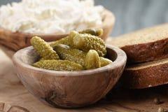 Ingredientes para el bocadillo con queso crean y Foto de archivo libre de regalías