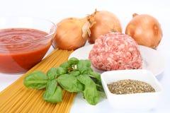 Ingredientes para el espagueti boloñés Fotos de archivo libres de regalías