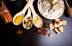 Ingredientes para el pan de jengibre Imagen de archivo libre de regalías
