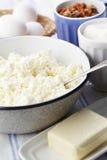 Ingredientes para el pastel de queso Foto de archivo libre de regalías