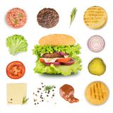 Ingredientes para fazer o hamburguer e o Hamburger imagens de stock royalty free